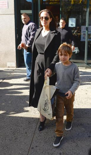 Angelina Jolie and Knox Jolie-Pitt are seen coming from Barnes & Noble in Union Square.